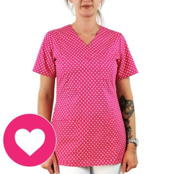 bluza damska medyczna kokolu gdansk serca rozowa