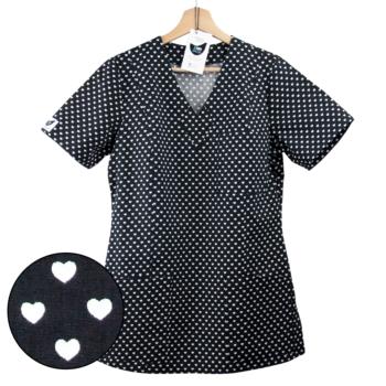 bluza medyczna damska czarna w serca kokolu