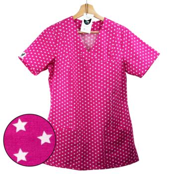 bluza medyczna damska różowa w gwiazdki kokolu