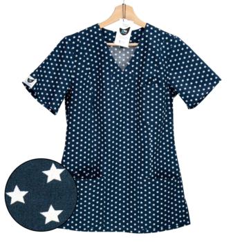 bluza medyczna damska granatowa w gwiazdki kokolu