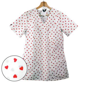 bluza medyczna damska biała w serca czerwone