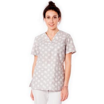 bluza-medyczna-damska-szara-koniczynki-kokolu