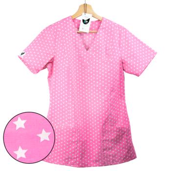 bluza medyczna damska jasnoróżowa gwiazdki kokolu