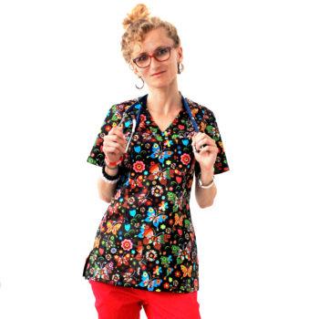 bluza-medyczna-damska-motylki