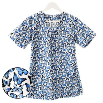 bluza-medyczna-damska-biała-motylki-niebieskie-kokolu
