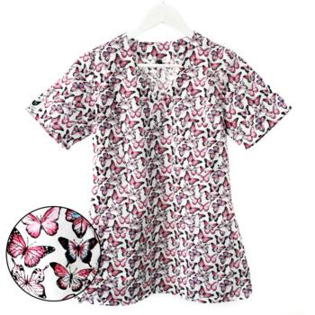 bluza-medyczna-damska-biała-motylki-rozowe-kokolu
