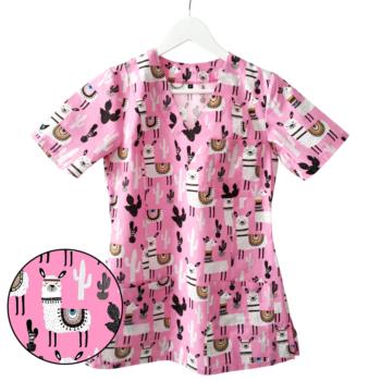bluza-medyczna-damska-lamy-kokolu-rozowa