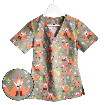 Bluza medyczna damska szara w liski