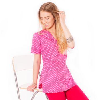 Bluza medyczna damska różowa w serduszka